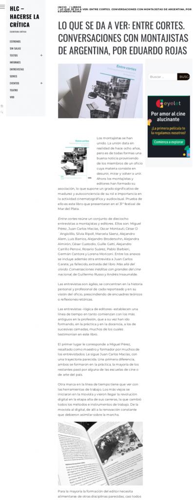Entre Cortes_ Conversaciones Con Montajistas _ HLC - Hacerse la crítica